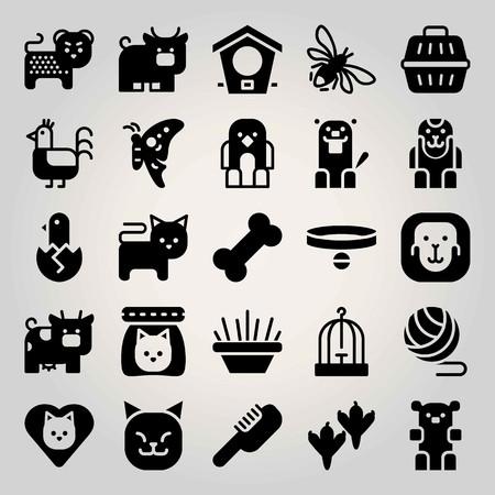 Animals vector icon set. cat food, cheetah, cat and bowl