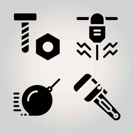 Construction vector icon set. screw, demolition, wrench and driller