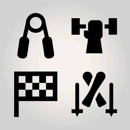 Sport vector icon set. flag, skiing, handgrip and weightlifting