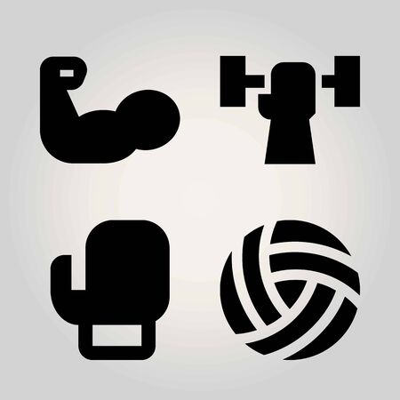 Sport vector icon set. muscle, weightlifting, volleyball  and boxing