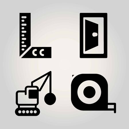 Construction vector icon set. measuring tape, ruler, door and demolition
