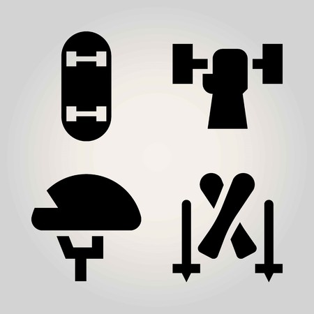 Sport vector icon set. helmet, skiing, weightlifting and skateboard