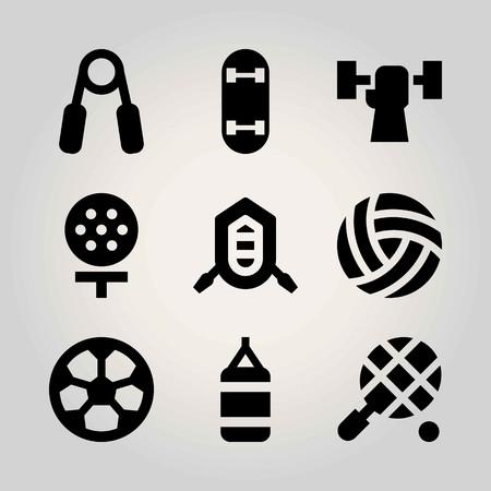 Sport vector icon set. football, tennis, skateboard and punching bag Illustration