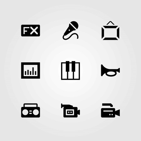 Multimedia vector icons set. mic, keyboard and microphone