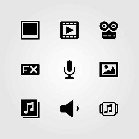 Multimedia vector icons set. microphone, fx and picture