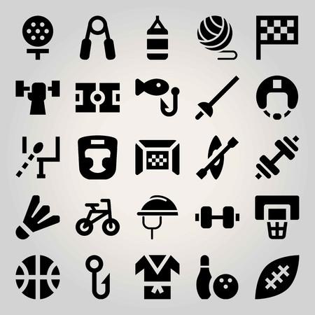 Sport vector icon set. hand grip, basket case, kimono and helmet