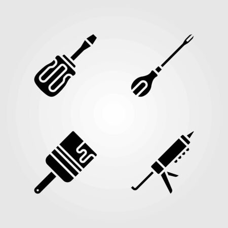 Tools vector icons set. brush, screwdriver and sealant gun 일러스트