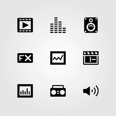 Multimedia vector icons set. speaker, volume and clapperboard