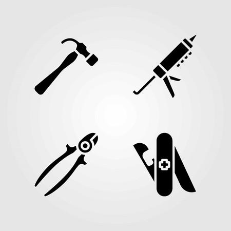 도구 벡터 아이콘을 설정합니다. 와이어 커터, 해머 및 실란트 건 일러스트