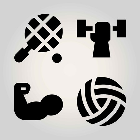 Sport vector icon set. weightlifting, tennis, ball and volleyball  Ilustrace