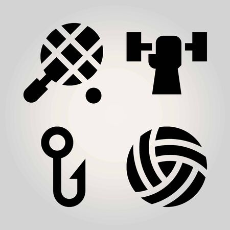 Sport vector icon set. ball, hook, weightlifting and fishing
