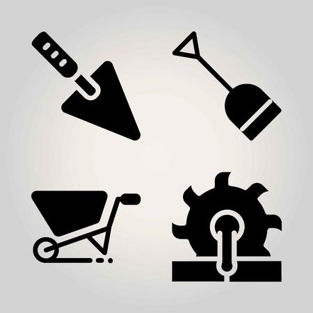 Garden vector icon set. saw, shovel, wheelbarrow and trowel