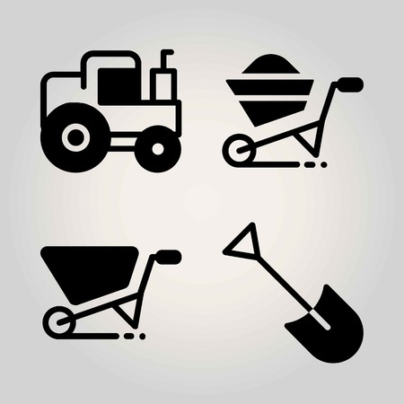 Agriculture vector icon set. tractor, wheelbarrow and shovel