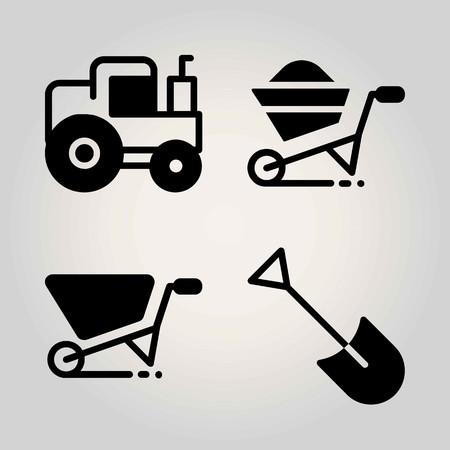 Agriculture vector icon set. tractor, wheelbarrow and shovel