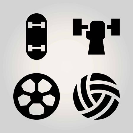 Sport vector icon set. ball, football, skateboard and weightlifting