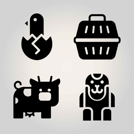 Animals vector icon set. chicken, animal carrier, cow and ape Çizim