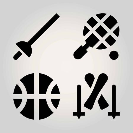 Sport vector icon set. basketball, tennis, fencing and ball
