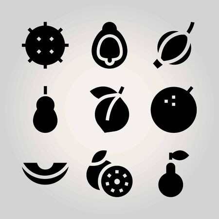 Fruits vector icon set. pear, melon, apricot and lychee Illustration