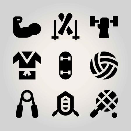 Sport vector icon set. skateboard, weightlifting, kimono and handgrip Illustration