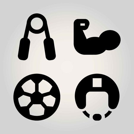 Sport vector icon set. helmet, football, hand grip and muscle Imagens - 94152398