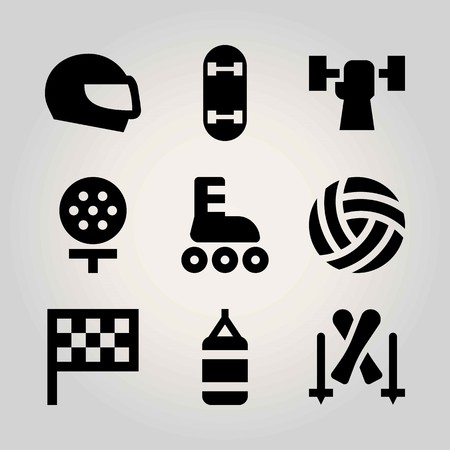 Sport vector icon set. skiing, volleyball , helmet and ball