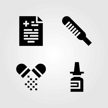 Medical vector icons set. pills, medical result and thermometer. Illustration