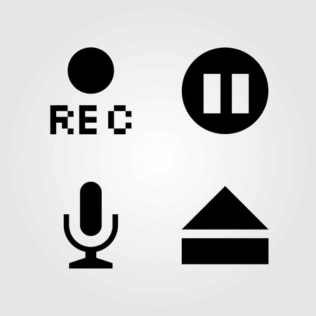 Buttons vector icons set. microphone, rec and eject