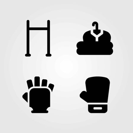 Fitness vector icons set. pull up, boxing glove and cloth