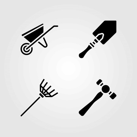 Garden vector icons set. rake, shovel and wheelbarrow Ilustrace