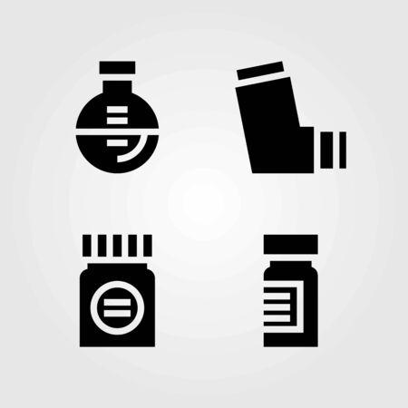 Medische vector iconen set. kolf, inhalator en medicijnen Stock Illustratie