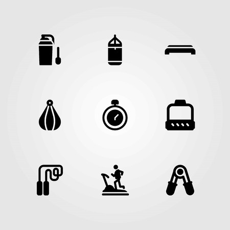 Fitness vector icons set. punching ball, punching and step