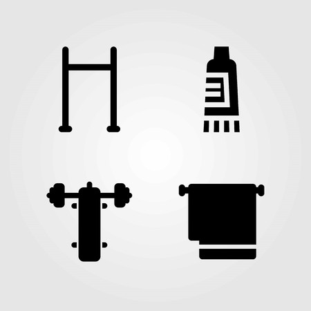 Fitness vector icons set. towel, pull up and pull up bar