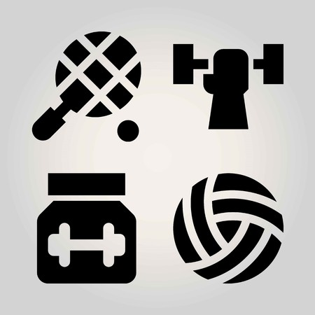 Sport vector icon set. protein, tennis, volleyball  and weightlifting