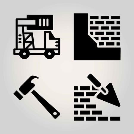 Construction vector icon set. brickwall, truck and hammer 矢量图像