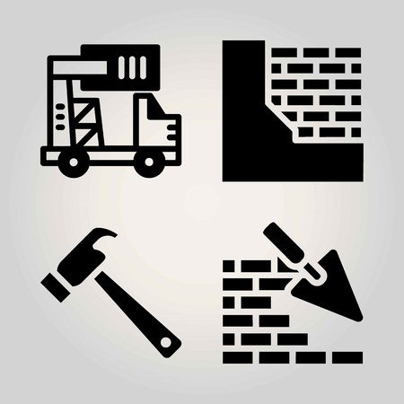 Construction vector icon set. brickwall, truck and hammer Illustration