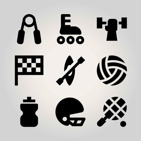 Sport vector icon set. bottle, handgrip, kayak and roller skate