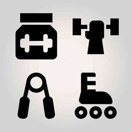 Sport vector icon set. protein, roller skate, weightlifting and handgrip