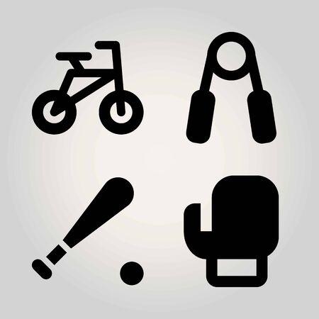 Sport vector icon set. boxing, handgrip, bicycle and baseball Illustration