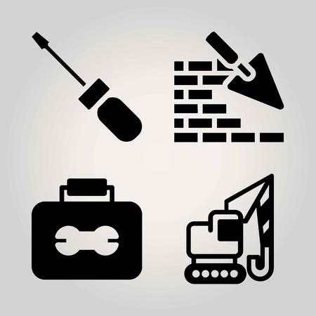 Construction vector icon set. toolbox, crane, screwdriver and brick-wall.