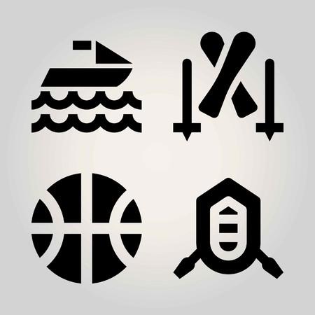 Sport vector icon set. basketball, skiing, ball and rafting