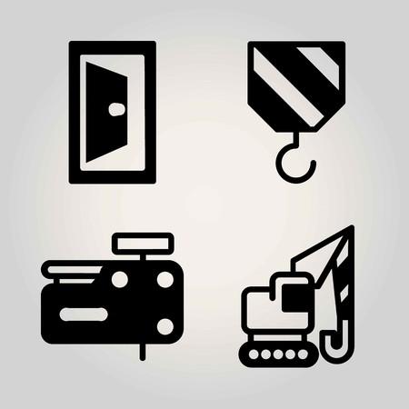 Construction vector icon set. nail gun, door and crane
