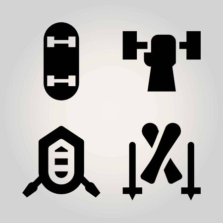 Sport vector icon set. weightlifting, rafting, skateboard and skiing