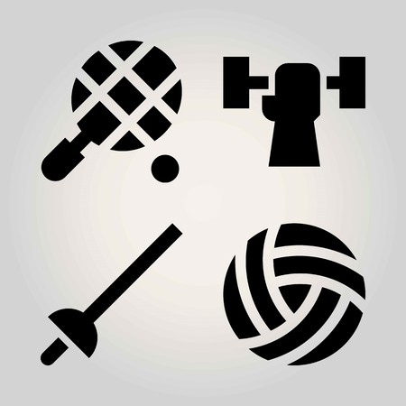 Sport vector icon set. tennis, weightlifting, ball and fencing