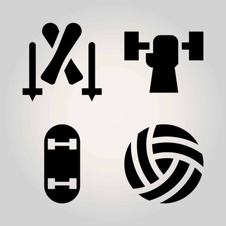 Sport vector icon set. ball, skateboard, skiing and weightlifting