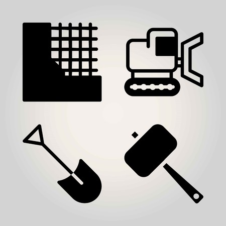 Construction vector icon set, bulldozer, hammer, wall and shovel.