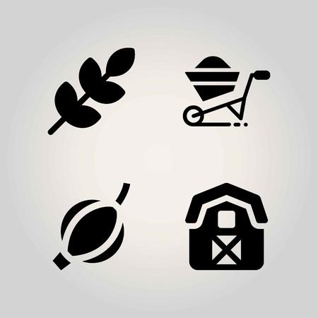 Agriculture vector icon set. barn, wheelbarrow, gooseberry and wheat.