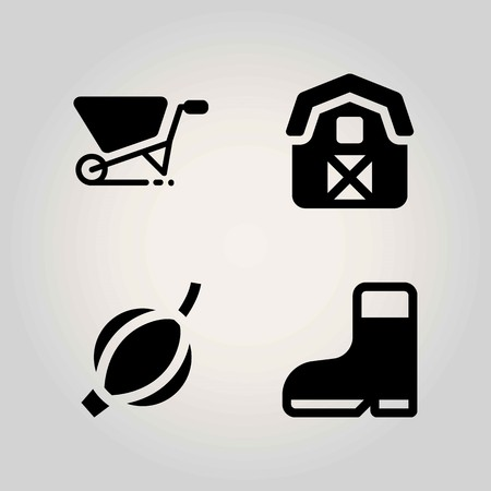 Agriculture vector icon set. gooseberry, wheelbarrow, barn and boot. Illusztráció