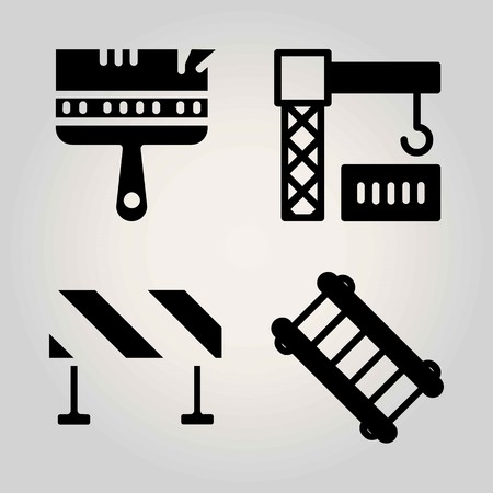 Construction vector icon set. paint brush, ladder, crane and barrier Çizim