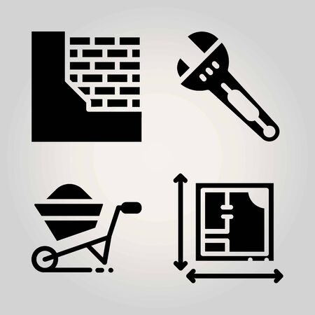 Construction vector icon set wrench blueprint brickwall and 94064439 construction vector icon set brickwall wheelbarrow blueprint and wrench malvernweather