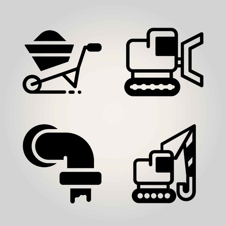 Construction vector icon set. crane, wheelbarrow, pipes and bulldozer Иллюстрация